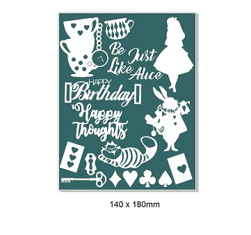 Alice in Wonderland card -Journal-sheet  110 x 180mm .Min Buy 3